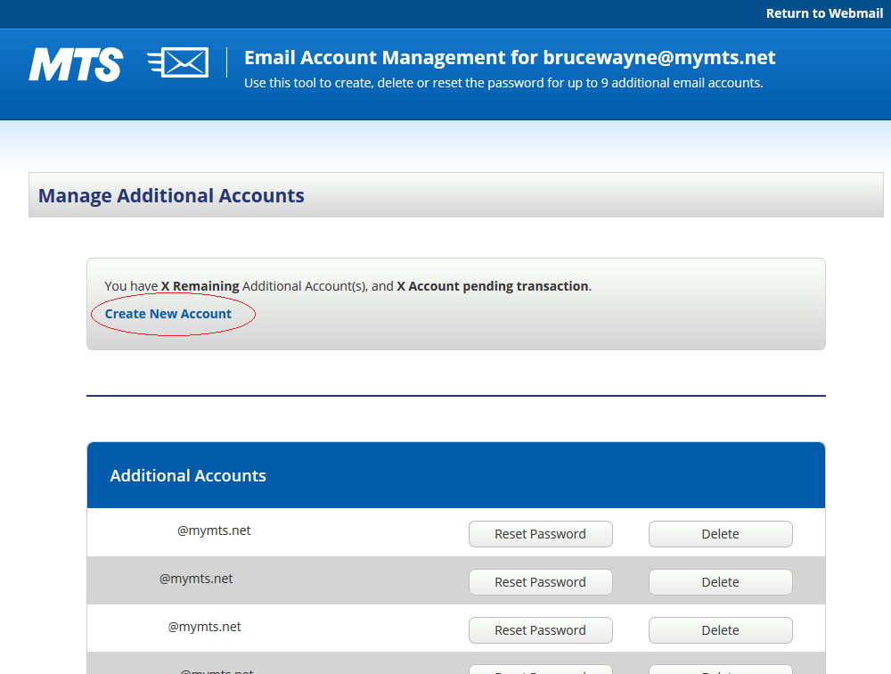 How to create an additional mymts net email account | MTS