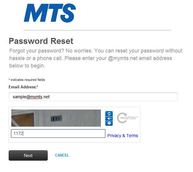 Reset Bell MTS Mail password | MTS